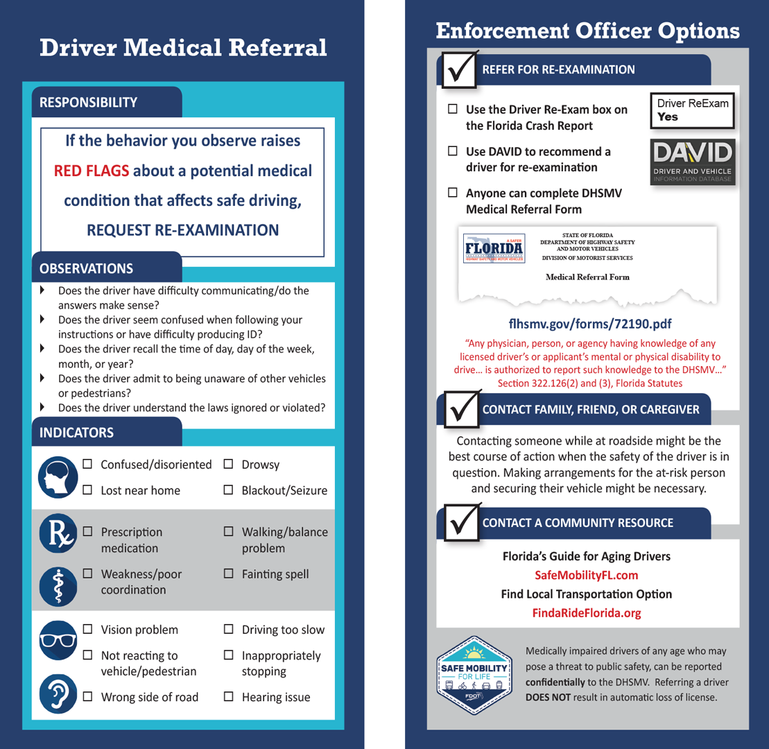 Image of the driver medical referral visor card